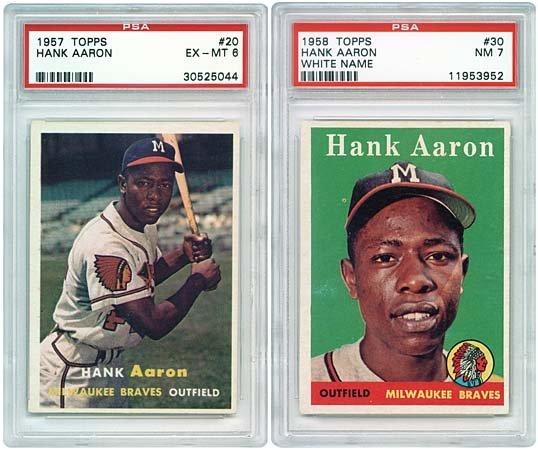 3040: 1957,58 TOPPS HANK AARON CARDS PSA GRADED (x2)