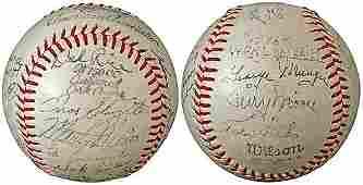 3105: 1946 ST LOUIS CARDINALS TEAM SIGNED BALL