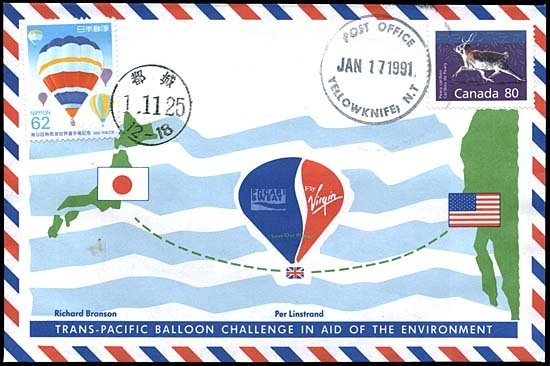 5: 1991 FLOWN TRANS-PACIFIC BALLOON CHALLENGE COVER