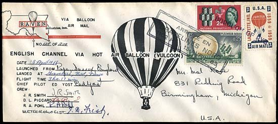 8: 1963 FLOWN ENGLISH CHANNEL BALLOON FLIGHT COVER