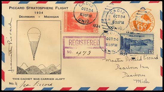15: 1934 FLOWN 'PICCARD STRATOSPHERE FLIGHT' COVER