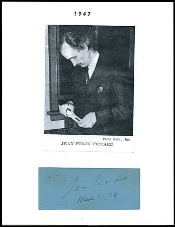 19: 1938 JEAN FELIX PICCARD AUTOGRAPH