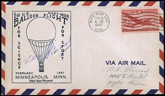 20: 1947 FLOWN 'FUGO' BALLOON COVER