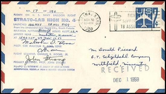 21: 1959 FLOWN 'STRATO-LAB HIGH NO.4' BALLOON COVER