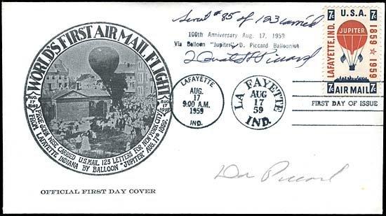 22: 1959 FLOWN JUPITER BALLOON STAMP FDC