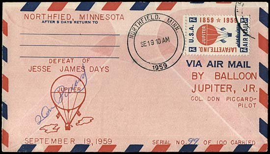 23: 1959 FLOWN 'BALLOON JUPITER' COVER (#99/100)