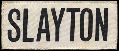 674 1975 FLOWN SLAYTON NAMETAG