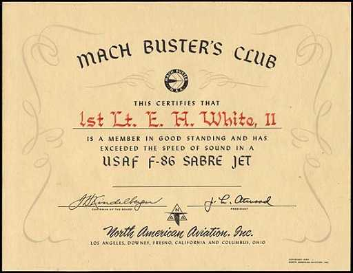 868: 1954 ED WHITE\'S \'MACH BUSTERS CLUB\' CERTIFICATE