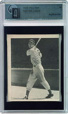 10: 1939 PLAY BALL #92 TED WILLIAMS SAMPLE CARD, GAI