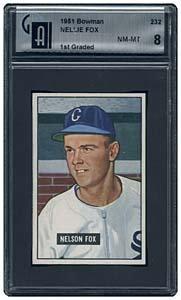 12: 1951 BOWMAN #232 NELLIE FOX ROOKIE CARD (GAI 8)