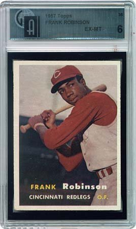 14: 1957 TOPPS #35 FRANK ROBINSON ROOKIE CARD, GAI 6