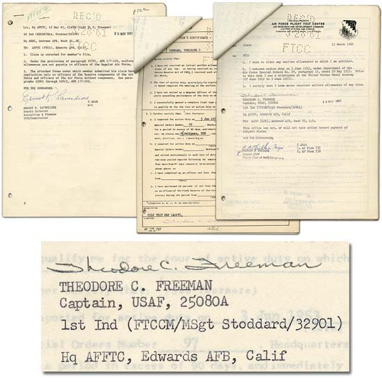 10: 1961 TED FREEMAN AUTOGRAPH