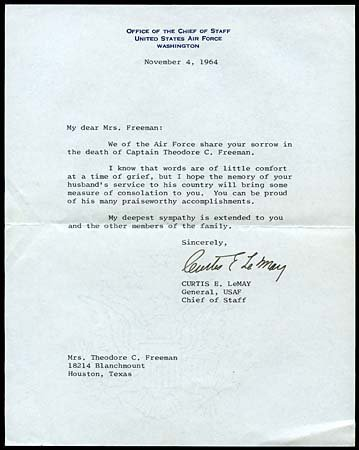 19: 1964 GENERAL CURTIS LEMAY CONDOLENCE LETTER
