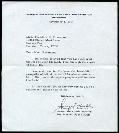 20: 1964 GEORGE MUELLER CONDOLENCE LETTER