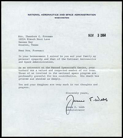 23: 1964 JAMES E. WEBB CONDOLENCE LETTER