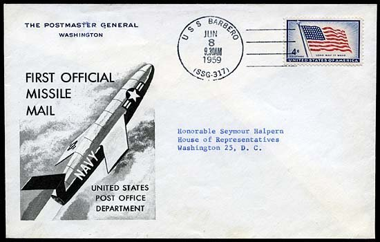 146: 1959 U.S.S. BARBERO MISSILE MAIL COVER