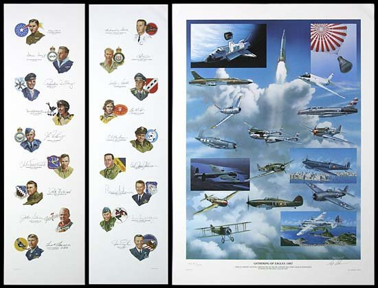 721: 1987 GATHERING OF EAGLES LITHOS & AUTOGRAPHS