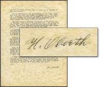 845 1957 HERMANN OBERTH SIGNED DOCUMENT
