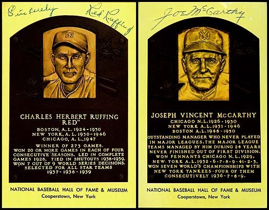 3: MCCARTHY & RUFFING SIGNED HOF PLAQUE CARDS