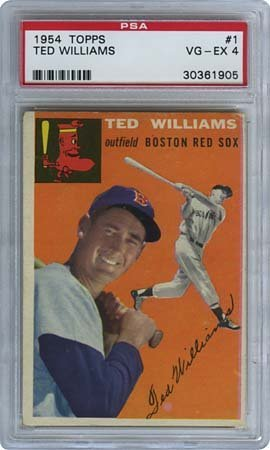 23: 1954 TOPPS #1 TED WILLIAMS (PSA 4 VG-EX)