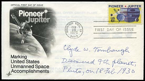 1978: 1975 TOMBAUGH AUTOGRAPHED FIRST DAY COVER