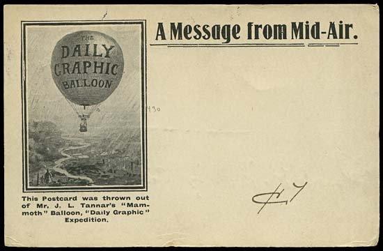 1982: 1907 GB 'DAILY GRAPHIC' BALLOON FLIGHT CARD