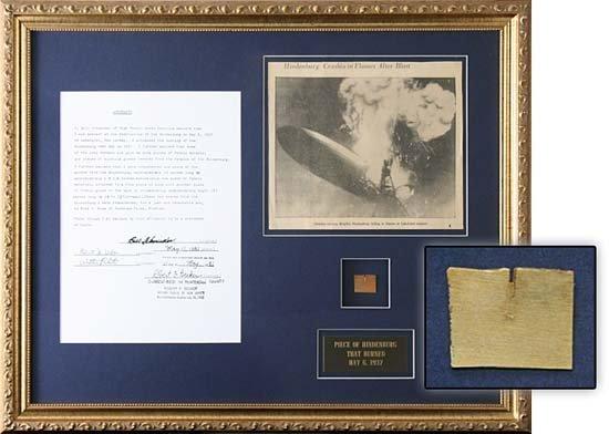 1988: 1937 FRAMED PIECE OF HINDENBURG WITH AFFIDAVIT