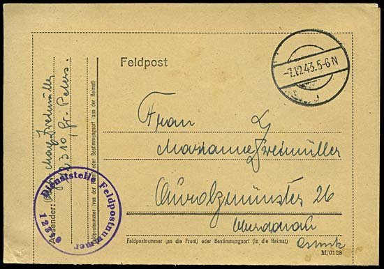 1995: 1943 FELDPOST COVERS TO & FROM HAP-11
