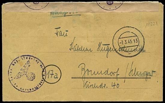 1996: 1945 HASSELFELDE UNIT 1200 FELDPOST LETTER