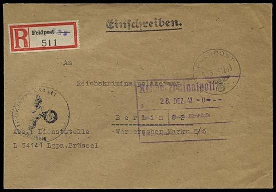1997: 1943 FELDPOST REG'D BELGIAN V1 UNIT COVER