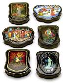 3368 INTRICATELY SHAPED RUSSIAN LACQUER BOXES