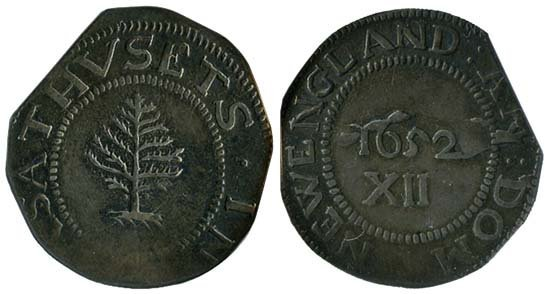 3681: 1652 MASS COLONIAL PELLETS PINE TREE 1 SHILLING