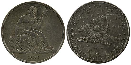 3701: 1836 USA GOBRECHT SEATED LIBERTY DOLLAR
