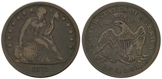 3702: 1872 USA SEATED LIBERTY W/ MOTTO DOLLAR