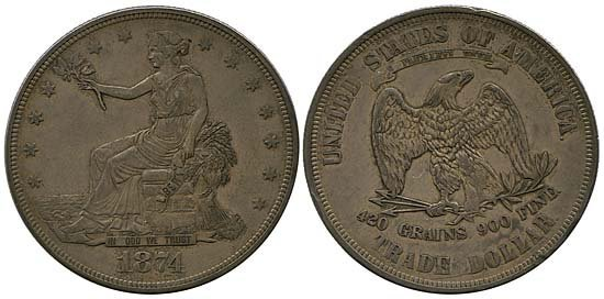3703: 1874 & 1876 USA SEATED LIBERTY TRADE DOLLARS