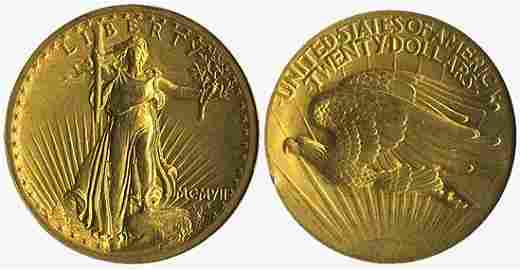 3735: 1907 ST-GAUDENS GOLD DOUBLE EAGLE HIGH RELIEF