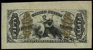 4011: 1864-69 JUSTICE 50¢ THIRD ISSUE, SPECIMENS
