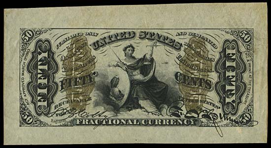 4011: 1864-69 JUSTICE 50¢ THIRD ISSUE, SPECIMENS