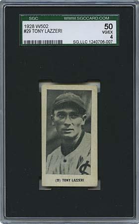 7: 1928 W502 #29 TONY LAZZERI CARD (SGC 4 VG-EX)