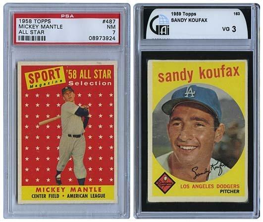 17: 1958-59 TOPPS MICKEY MANTLE & SANDY KOUFAX