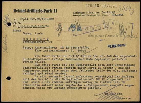 7: 1943 GERMAN V2 ROCKETS HAP 11 DOCUMENT