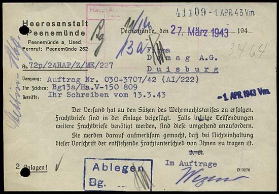 8: 1943 GERMAN V2 ROCKETS HAP 11 DOCUMENT