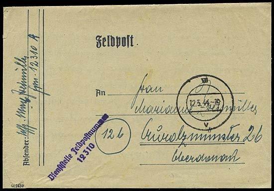 10: 1944 V2 ROCKETS FELDPOST COVER FROM 12310