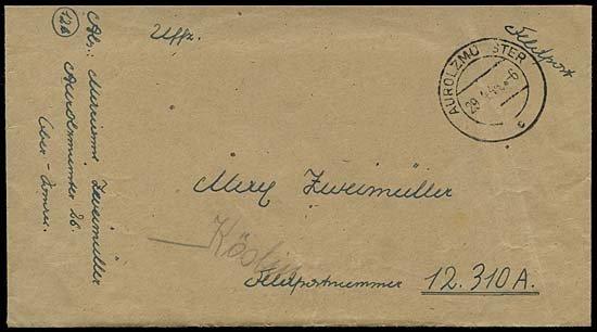 11: 1944 GERMAN V2 ROCKETS FELDPOST COVER TO 12310