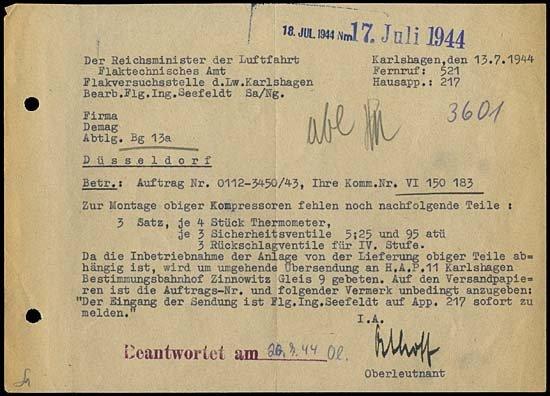 12: 1944 GERMAN V2 ROCKETS HAP 11 DOCUMENT