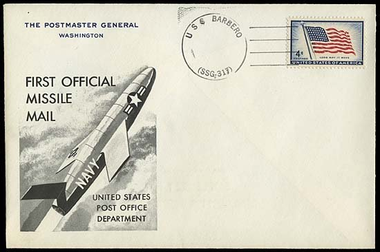 13: 1959 USS BARBERO MISSILE MAIL PROOF COVER