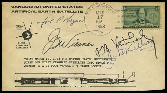22: 1958 VANGUARD I LAUNCH COVER SIGNED