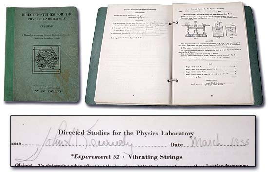 795: 1930s JOHN F. KENNEDY MULTI-SIGNED LAB BOOK