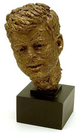 799: c.1960-63 BRONZE BUST OF JFK