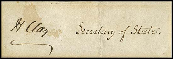 812: c.1826  HENRY CLAY CUT SIGNATURE